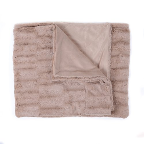 Sweet Home Collection Casie Decorative Reversible Faux Fur and Mink Throw Blanket, 50 x 60'', Animal Pattern, Taupe by Sweet Home Collection