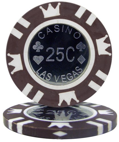 Brybelly Coin Inlay Poker Chip 15-gram Heavyweight Clay Composite - Pack of 50 ($0.25 Brown)