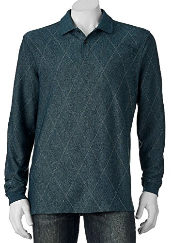 (Haggar Men's Classic-Fit Diamond jacquard Long Sleeve Polo (Small, Thunderstorm) )