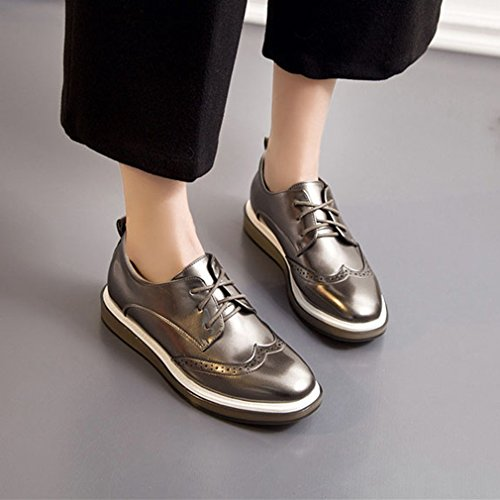 Oxford Fashion Shoes Red Perforated Vintage Oxford Hoxekle Black Shoes Grey Womens Grey Glossy Wingtip Pnd7qR