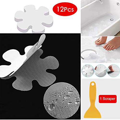 """HGmart Safety Shower Treads,Snowflake Shape Non-Slip Bathtub Stickers with Scraper Self Adhesive Slip-Resistant Decals for Bathroom, Kitchen, Stairs, Pool,Bedroom,12 Pieces,Clear,Dia 3.94"""" - Shape Bathtub"""