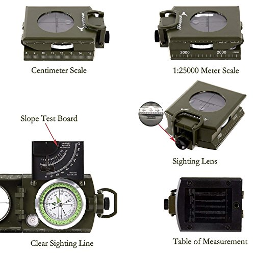 Sportneer Multifunctional Military Lensatic Sighting Compass with Inclinometer and Carrying Bag, Waterproof and Shakeproof, Army Green by Sportneer (Image #1)