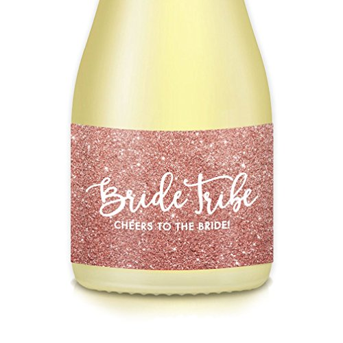 Wedding Party BRIDE TRIBE Sparkling Mini Champagne Bottle Labels, Bride Proposal, Bubbly Brunch, Bachelorette Engagement Parties, Bridal Shower, Set of 20 Thank You Gift Bags Boxes Favors 3.5