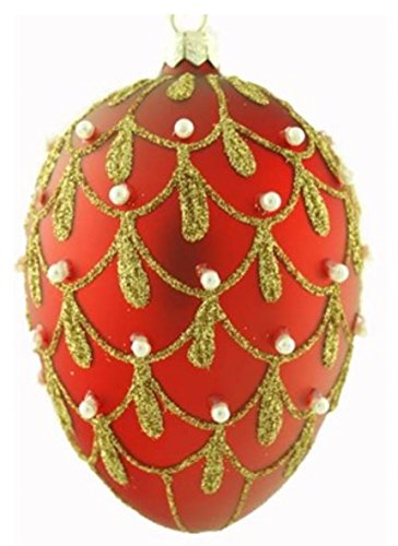 Red Egg Ornaments - Christmas Red Egg-Shaped Ornaments with Gold Glitter Drapery Design Accented by 50 White Pearls