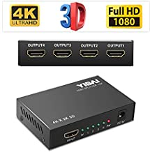 HDMI Splitter, YIBAI 4K HDMI Splitter 1 in 4 out Ver 1.4 Certified for Full HD 1080P & 3D Support With US Power Adapter