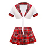 FEESHOW School Girl Uniform Costume Sexy Lingerie Tie Knot Crop Top with Plaid Mini Skirt