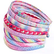 Rainbow Headbands 8 Pcs Sweet Hairband Children Head Bands For Girls Sequin Printed Heart Mermaid Headband Kid