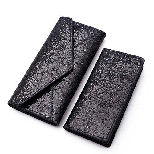 Womail Women 2PCS Fashion Sequins Wallet Card Coin Holder Clutch Handbags (Black Fashion Wallet Clutch)
