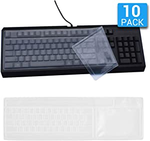 Reusable Waterproof Keyboard Covers, Universal Clear Keyboard Skin Protector Dust Cover for 104/108 Keys Standard Desktop Keyboard (10 Pack)