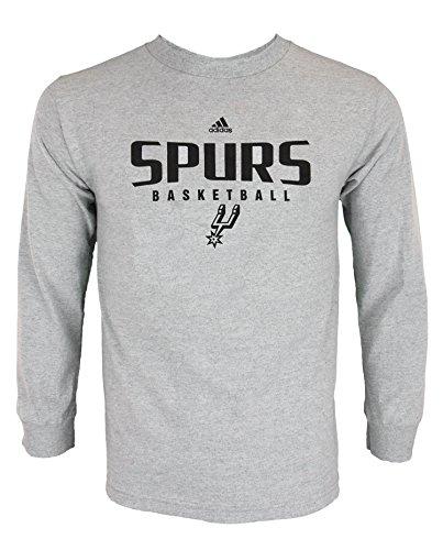 (adidas NBA Mens Athletic Basic Graphic Long Sleeve Tee, San Antonio Spurs - Grey )