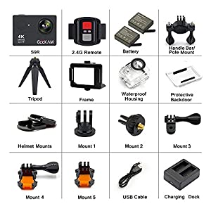 Digital Action Underwater Waterproof Sports Camera Camcorder Cam Wifi 4K HD 30fps 12MP 170 Degree Wide Angle Remote Control and Helmet Accessories Kit- Waterproof 100ft by GEEKAM