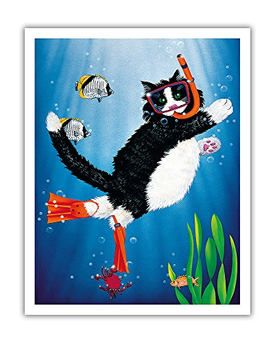 Snorkel Kitty - Underwater Snorkeling Cat - From an Original Color Painting by Peter Powell - Hawaiian Fine Art Print - 11in x 14in ()