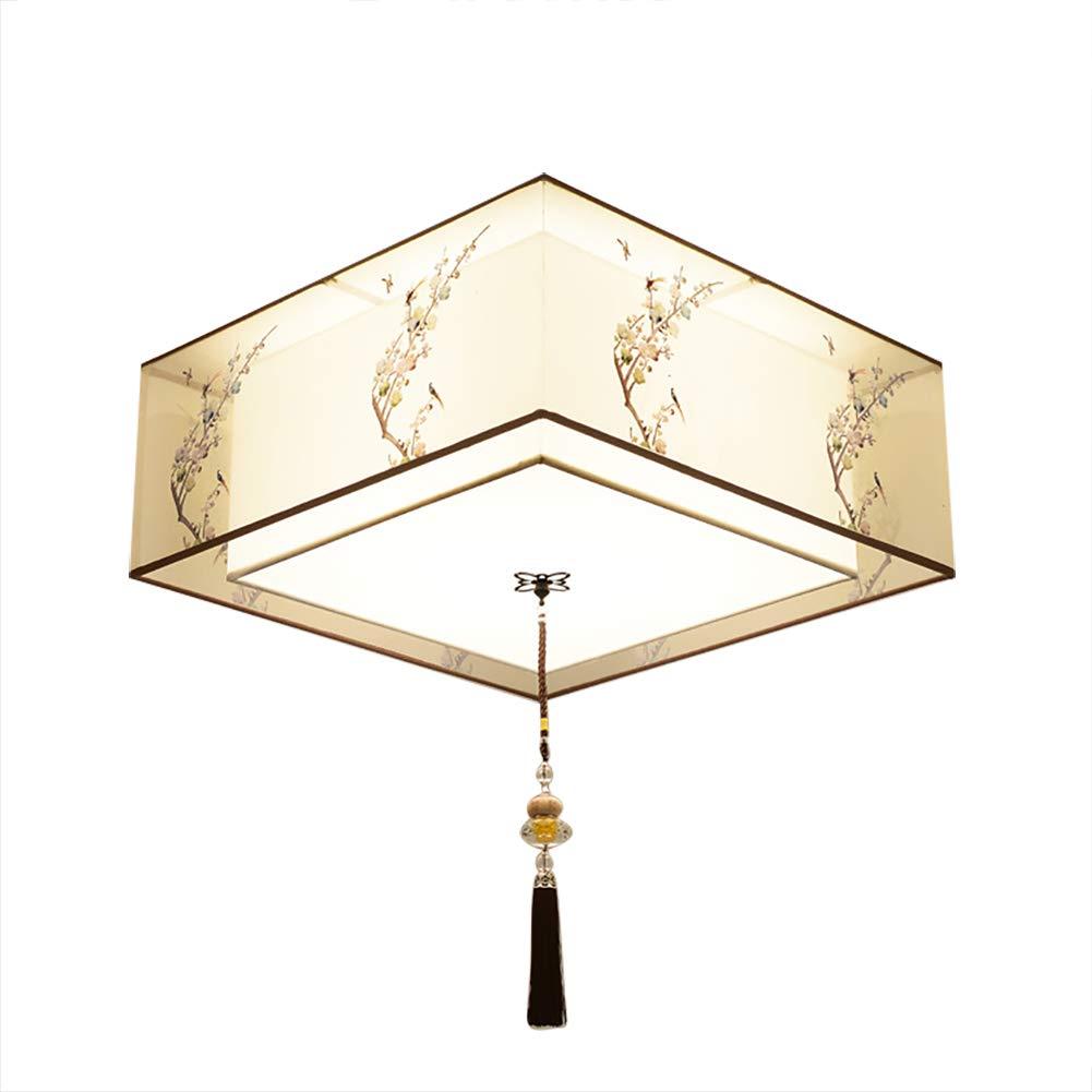 E27 Erröten-einfassung Modern Deckenleuchte Leuchte, Quadratische Beige Stoffschirm Deckenlampe Für Schlafzimmer D 40cm (15.7 in)-A 4-Lichter