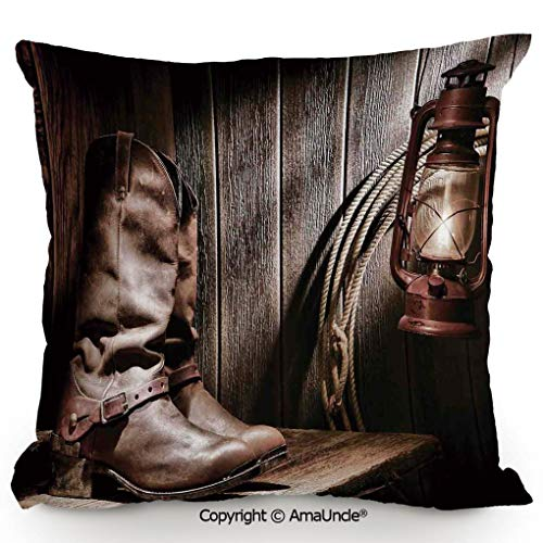 (SCOXIXI Personality Customization Pillow Dallas Cowboys and Lantern On A Bench in Vintage Ranch Nostalgic Folkloric Print,W18xL18 Inches)