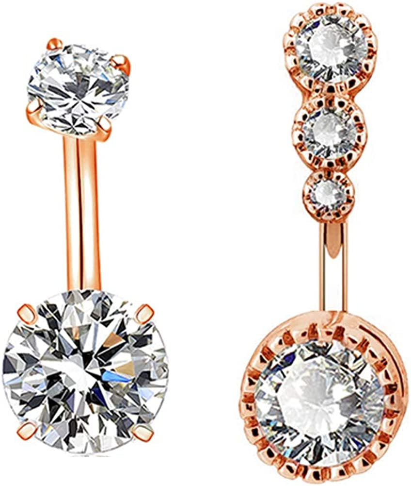 COCHARM Double Teardrop CZ Navel Rings Belly Piercing 14G 316L Surgical Steel Belly Button Rings