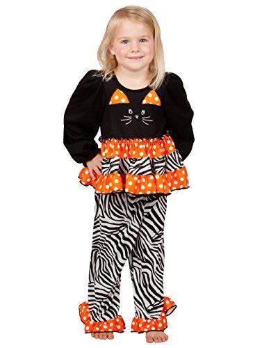 Laura Dare Baby Girls Trick Or Sleep Costume Ruffled Cats PJ Set, (Matilda Halloween Costume)