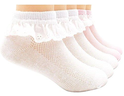 (Sept.Filles Socks Girl's Socks Lace Top Anklet Socks Packs of 5 (L(7-11y), Mix4))