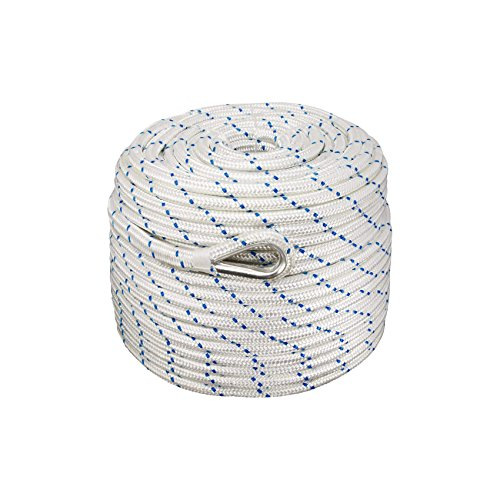 Anchor Nylon Braided - Norestar Braided Nylon Anchor/Mooring Rope with Thimble, 300 feet by 1/2 inch, Boat Rode