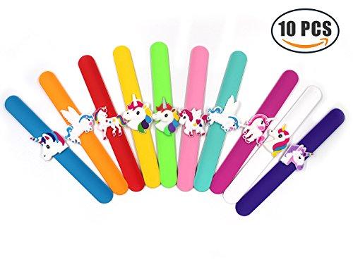 10pcs Unicorn Slap Bracelets Bulk Silicone Wristbands Party Favors Supplies for Kids Boys & Girls,Cute Toys Prizes Gifts, Rubber Band Bracelet by Erlvery DaMain