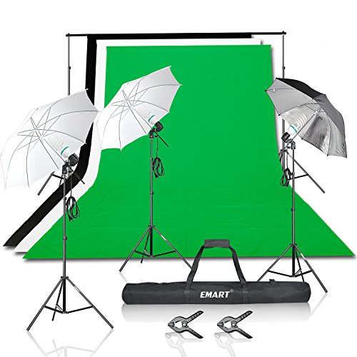 Emart 1500W Photo Video Studio Light Kit include (1) 7x10ft Background Support System, (3) Muslin Backdrops, (3) Umbrellas Continuous Lighting Portrait Kit for Photography (Impact Background System Kit)