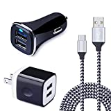 USB Type C Car Charger, Wall Charger, HUHUTA 2.1A Dual Port Charger Block Adapter Nylon Braided USB C Cable 6ft Compatible Samsung Galaxy S9/ S8, LG G7 G6 V30 V20, Google Pixel,Nexus 6p 5X, ChromeBook