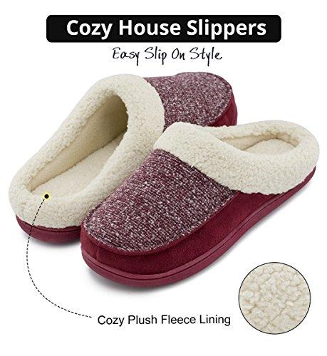 Hometop Mens & Womens Comfort Memory Foam Slippers Lana Sfilata Peluche Slip-on Scarpe Da Casa Zoccolo W / Indoor E Outdoor Suola Bordeaux