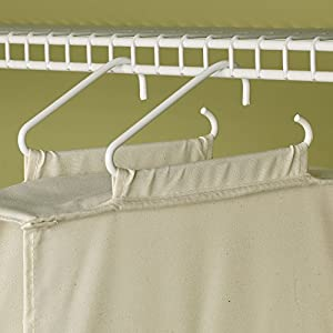 Household Essentials 311322 Hanging Shoe Storage Organizer for Closets |10 Pocket Shelves | Natural Canvas