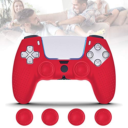 FONGWAN PS5 Controller Cover Skin, Silicone PS5 Controller Skin with 4 pcs Thumb Grips, Soft Anti-Slip Protective Case…
