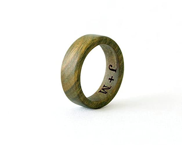 sandalwood ring wood ring men wedding band wedding rings green ring - Wood Wedding Ring