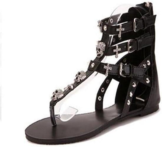 Summer White Rhinestone Womens Shoes Roman Gladiator Sandals Size 7.5