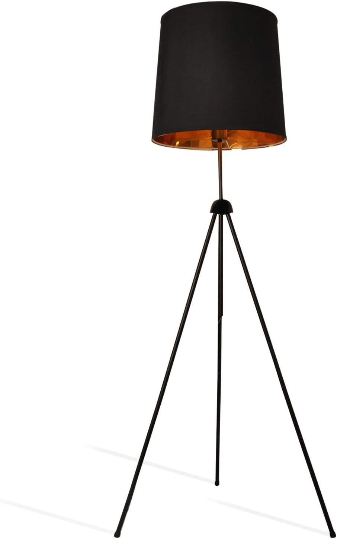 Decoluce Floor Standing Lamp Tripod Modern Minimalist Designer Studio Adjustable Black Gold Linen Drum Shade For Living Room Black Amazon Com
