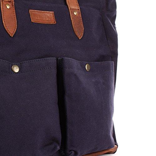 à à bagages toile en à en Sac Sac Sac Vintage Sac unisexe LECONI à XL bandoulière bandoulière Weekender sac Sac sac Grand bandoulière marron main en à Style bleu marine cuir dentelle C 35x39x20cm et en LE0040 4ESwvq