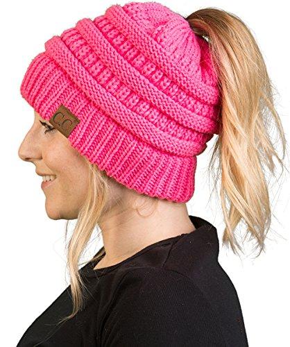 (BT-6020a-80 Messy Bun Womens Winter Knit Hat Beanie Tail - Candy Pink)