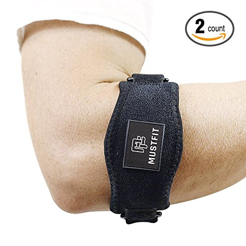 Tennis elbow brace with Compression Pad (2 Pack) for Men & Women - Prevents Elbow Tendonitis - Great Support For Injured Arms & Pain Relief - Best Tennis & Golfer Elbow Brace - Free E-book - Bandit Arm Brace