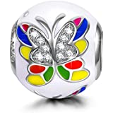NinaQueen 925 Sterling Silver Colorful Butterlfly Bead Charms for Pandöra Bracelet Necklace Jewelry for Women Birthday Anniversary Christmas Mothers Day Gifts For Her Teen Girls Wife Mom Daughter