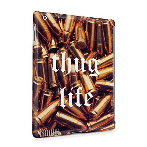 Thug Life Military Ammunition Weapons Golden Bullets Plastic Tablet Snap On Back Case Cover Shell For iPad 2 & iPad 3 & iPad 4