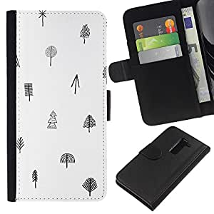 All Phone Most Case / Oferta Especial Cáscara Funda de cuero Monedero Cubierta de proteccion Caso / Wallet Case for LG G2 D800 // Tree White Black Pattern Minimalist Clean