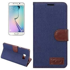 Denim Texture Horizontal con solapa Solid Color Leather Case Cover Funda con Wallet & & Holder bolsillos internos para Samsung Galaxy S6 Edge/G928 (Dark Blue)