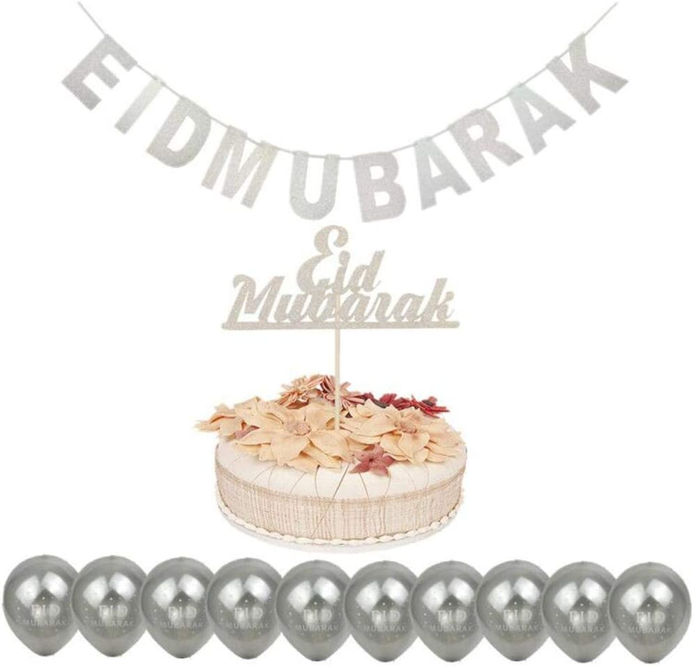 Musulman Eid Mubarak Poudre De Paillettes Eid MUBARAKD/écoration De Ramadan Al-Fitr Al-Fitr Insert De G/âteau Au Ruban en Forme De Ballon en Poudre Kitabetty Ballon D/écoratif Eid Mubarak