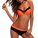 High Neck Hight Waist Top & Bottom Bikini Sets Underwire Pad Bandage Swimsuit