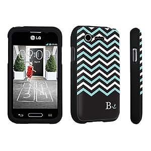 DuroCase ? LG L34C Optimus Fuel / LG Optimus Zone 2 VS415PP Hard Case Black - (Black Mint White Chevron B)
