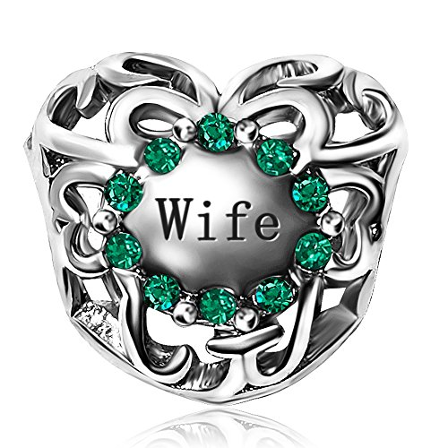 JMQJewelry Love Wife Birthstone Heart Charms May Beads for Bracelets (Rhinestone Pandora)