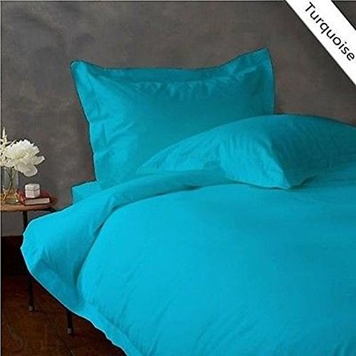 Image of American Linen Egyptian Cotton Bedding HIGH Class Turquoise Solid 1000 Thread-Count 6 PCs Twin Extra Long Bed Sheet Set 100%- Cotton, Sateen Solid, 15 Inches Deep Pocket