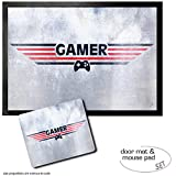 Set: 1 Door Mat Floor Mat (28x20 inches) + 1 Mouse Pad (9x7 inches) - Gaming, Gamer