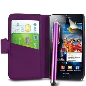 ONX3 Samsung Galaxy S2 i9100 PREMIUM PU Ejecutivo púrpura caja de la carpeta de cuero de lujo + Purple High capacitivo Stylus Pen + LCD Protector de pantalla