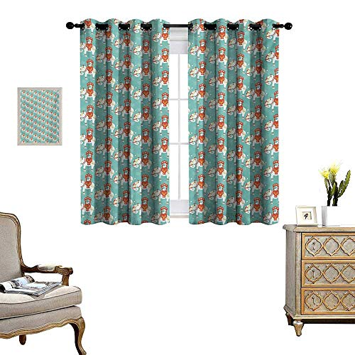 Elephant Blackout Window Curtain Eastern Elephant with Great King on Its Back Asian Culture Theme Customized Curtains W55 x L63 Mint Green Vermilion White ()