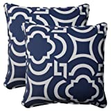 Pillow Perfect Indoor/Outdoor Carmody Corded Throw Pillow, 18.5-Inch, Navy, Set of 2
