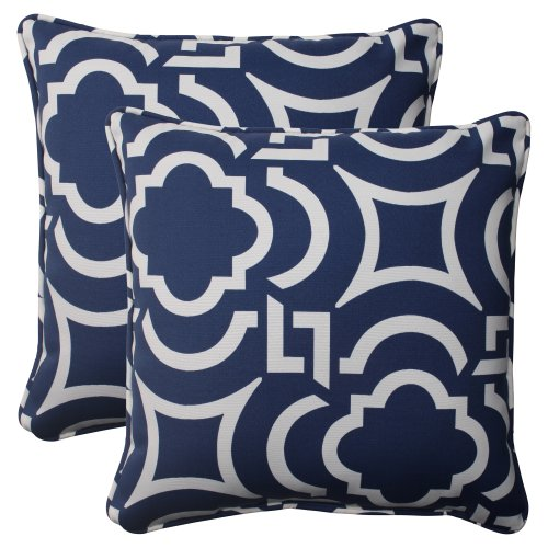 (Pillow Perfect Outdoor Carmody Corded Throw Pillow, 18.5-Inch, Navy, Set of 2)