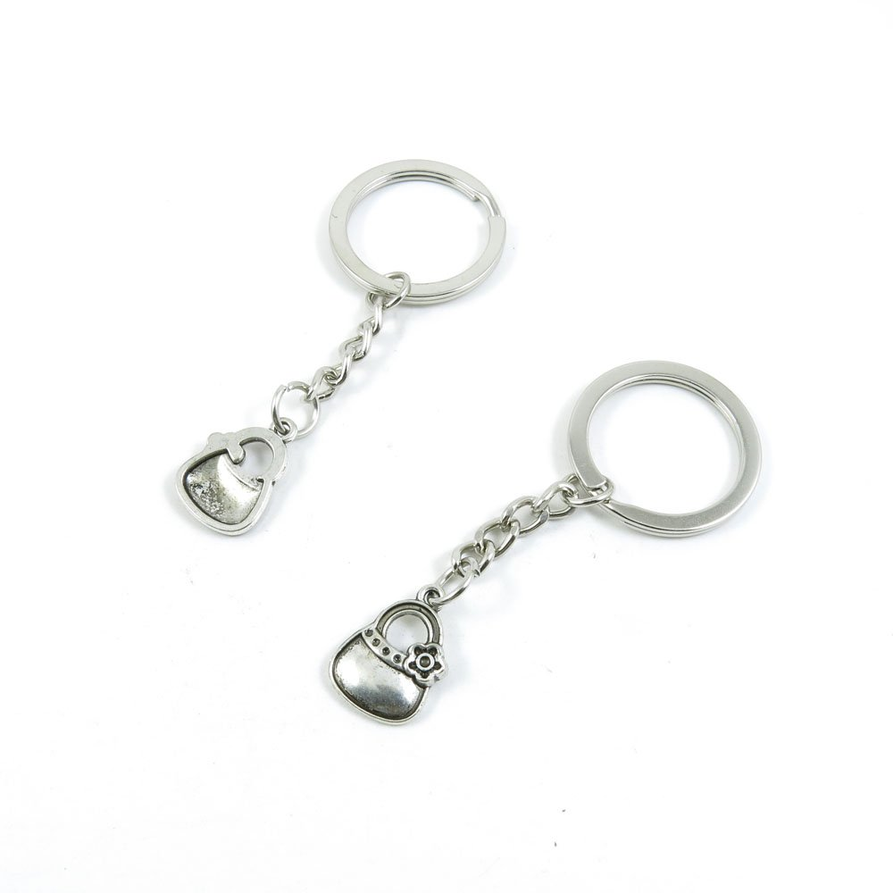 100 Pieces Keychain Door Car Key Chain Tags Keyring Ring Chain Keychain Supplies Antique Silver Tone Wholesale Bulk Lots E3SC0 Purse Handbag