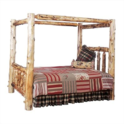 Fireside Lodge Hand Crafted Lacquered Vintage Cedar Canopy Log Bed With Notched Side Rails and T-Support, King